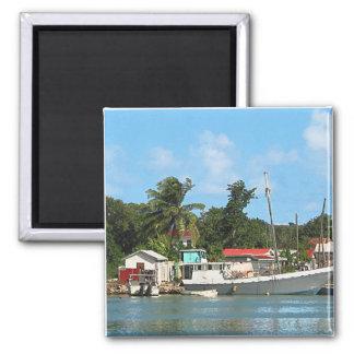 Docked Boats Antigua Magnet