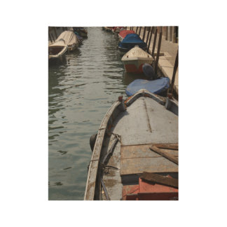 Docked Boats in Venice Wood Poster