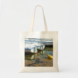 Docked Boats In Water Nautical Photography Tote Bags