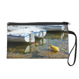 Docked Boats In Water Nautical Photography Wristlet Clutches