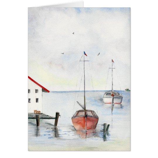 Docked Sailboats Watercolor Painting Card