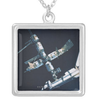 Docked Space Shuttle 2 Silver Plated Necklace