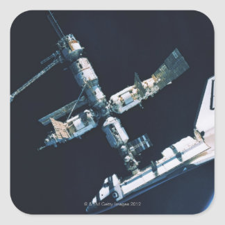 Docked Space Shuttle 2 Square Sticker