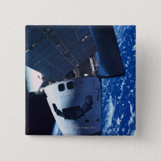 Docked Space Shuttle 3 15 Cm Square Badge