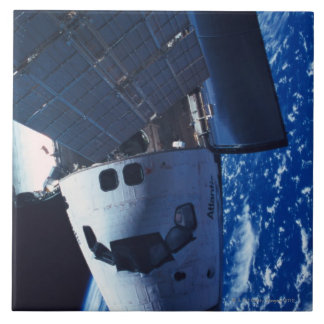 Docked Space Shuttle 3 Large Square Tile