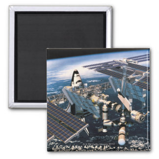 Docked Space Shuttle Square Magnet