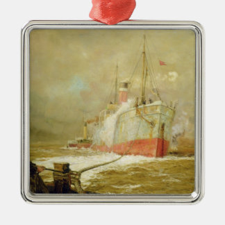 Docking a Cargo Ship Christmas Ornament