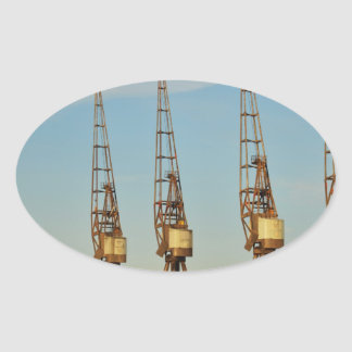 Dockside cranes oval sticker