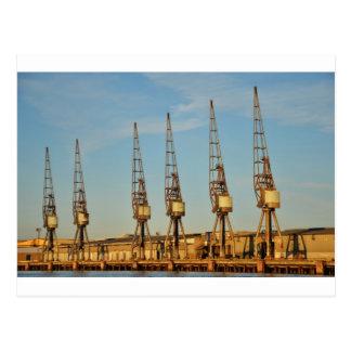 Dockside cranes postcard