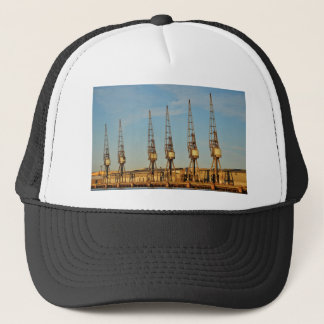 Dockside cranes trucker hat