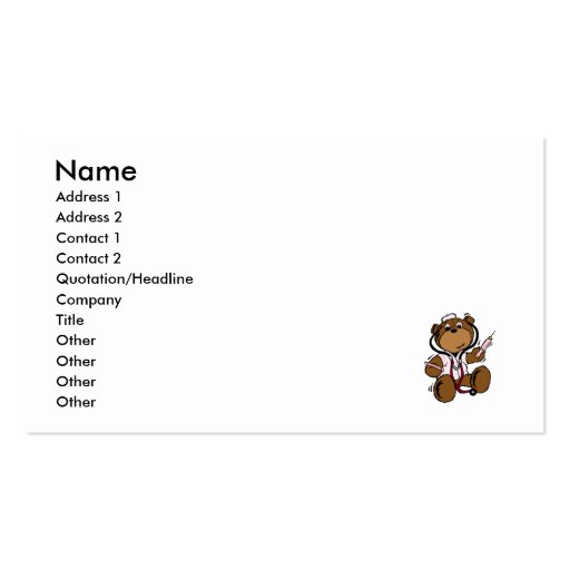 Doctor Bear Lady Business Card Templates