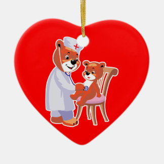 doctor bear tending patient ceramic heart decoration