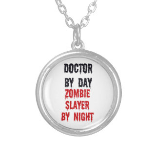 Doctor by Day Zombie Slayer by Night Silver Plated Necklace