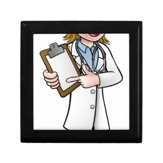 Doctor Cartoon Character Holding Clip Board Gift Box