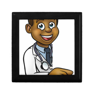 Doctor Cartoon Character Pointing Sign Gift Box