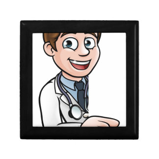 Doctor Cartoon Character Pointing Sign Small Square Gift Box