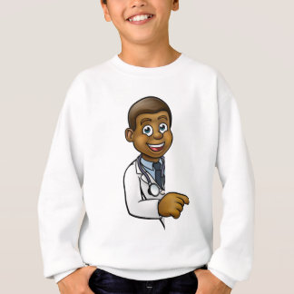 Doctor Cartoon Character Pointing Sign Sweatshirt
