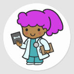 Doctor Girl Round Stickers