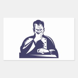 Doctor Hand on Chin Woodcut Rectangular Sticker