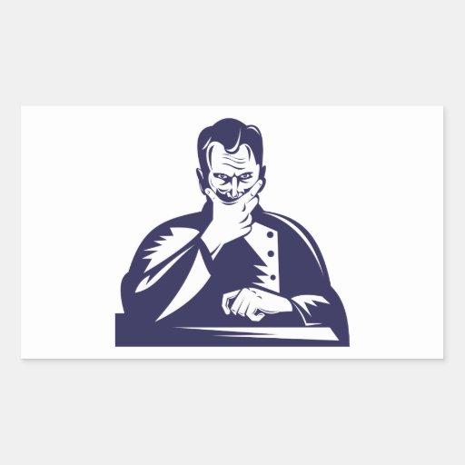 Doctor Hand on Chin Woodcut Sticker