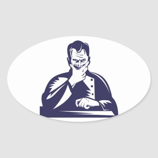 Doctor Hand on Chin Woodcut Oval Sticker