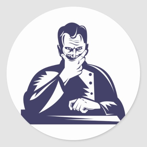 Doctor Hand on Chin Woodcut Round Stickers