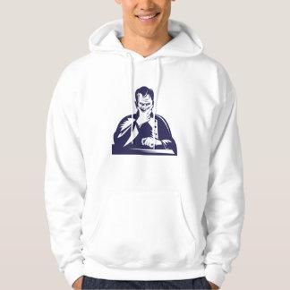 Doctor Hand on Chin Woodcut Sweatshirts