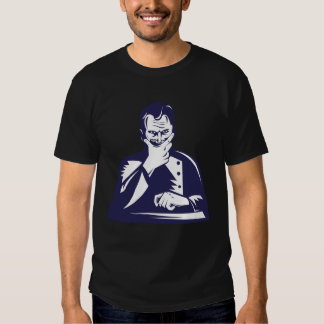 Doctor Hand on Chin Woodcut T-shirts