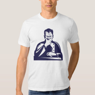 Doctor Hand on Chin Woodcut T Shirts