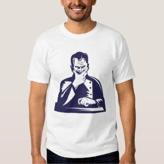 Doctor Hand on Chin Woodcut Tshirts
