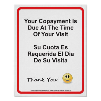 Doctor Office Copayment Wall Sign English Spanish