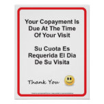 Doctor Office Copayment Wall Sign English Spanish Print