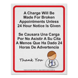 Doctor Office Missed Appointment Sign Poster