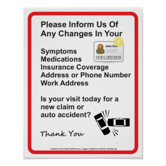 Doctor Patient Information Wall Sign #1 Poster