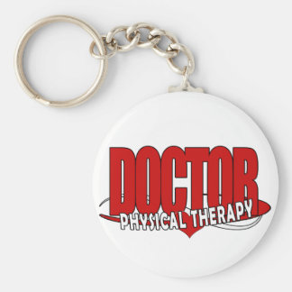 DOCTOR PHYSICAL THERAPY BIG RED BASIC ROUND BUTTON KEY RING