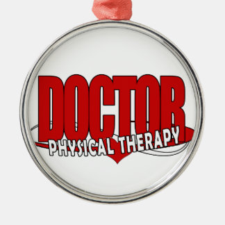 DOCTOR PHYSICAL THERAPY BIG RED Silver-Colored ROUND DECORATION