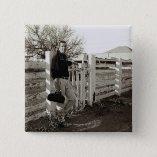 Doctor Standing by a Fence 15 Cm Square Badge