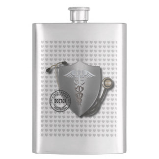 Doctor Symbols Caduceus On Stethoscope And Stamp Hip Flask