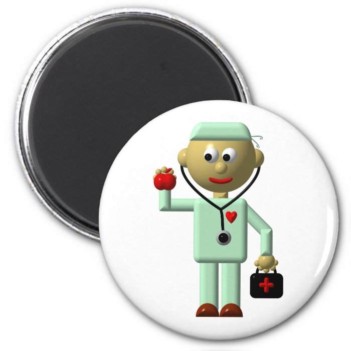 Doctor with Apple and Medical Bag 6 Cm Round Magnet