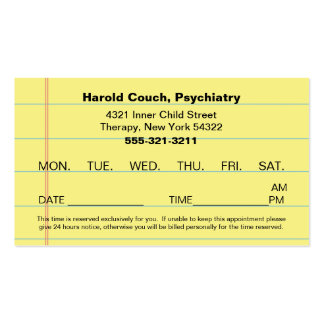 Doctor's Office Appointment Card Pack Of Standard Business Cards