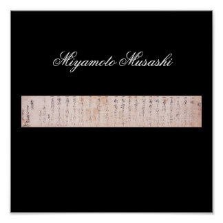 Document written by Miyamoto Musashi, c. 1600's Poster