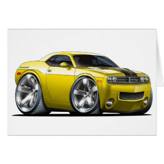 Dodge Challenger Yellow Car Card