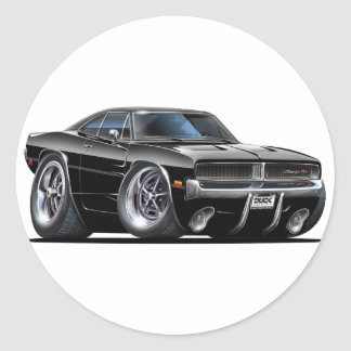 Dodge Charger Black Car Classic Round Sticker