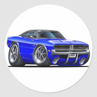 Dodge Charger Blue Car Classic Round Sticker