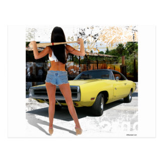 Dodge Charger Chick Post Cards