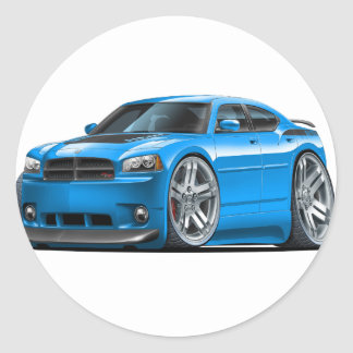 Dodge Charger Daytona Blue Car Round Sticker