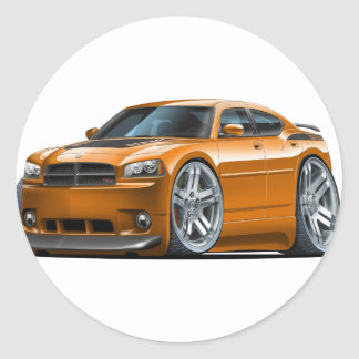 Dodge Charger Daytona Orange Car Classic Round Sticker