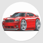Dodge Charger Daytona Red Car Classic Round Sticker