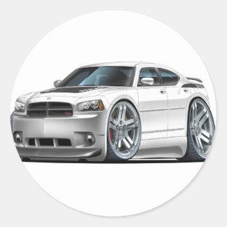 Dodge Charger Daytona White Car Round Sticker
