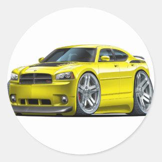 Dodge Charger Daytona Yellow Car Classic Round Sticker